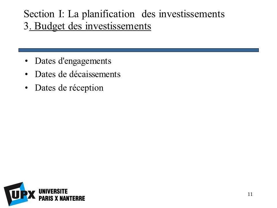 11 Section I: La planification des investissements 3.