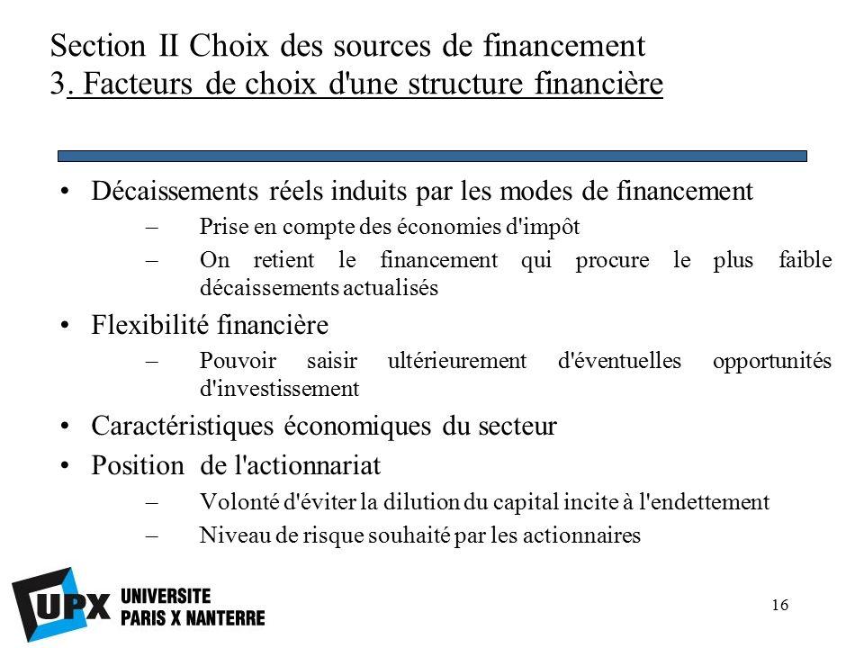 16 Section II Choix des sources de financement 3.