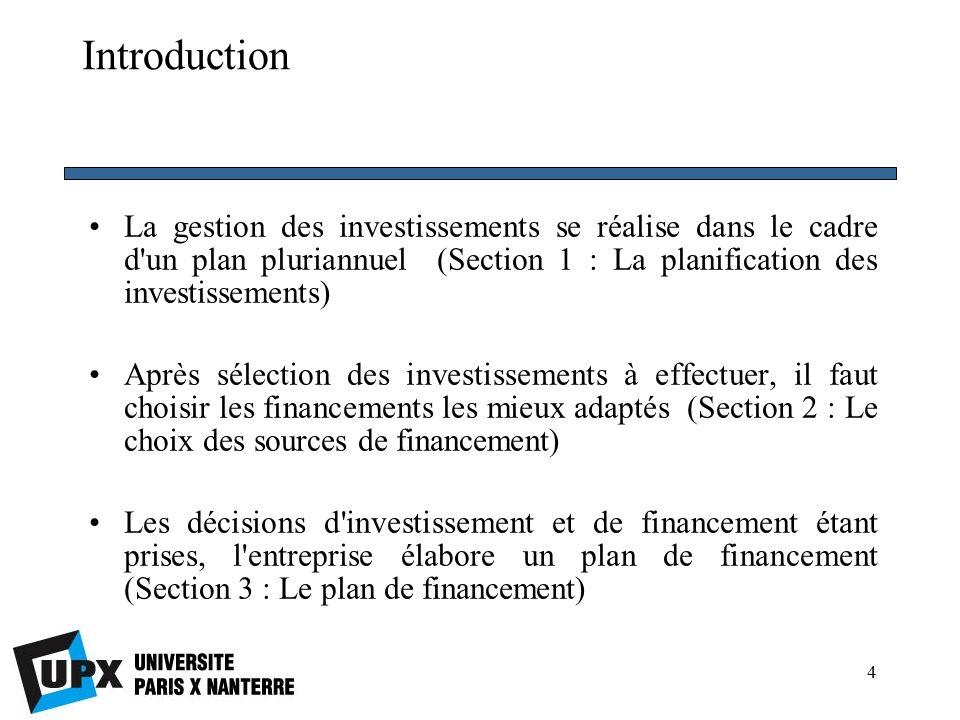 4 Introduction La gestion des investissements se réalise dans le cadre d un plan pluriannuel (Section 1 : La planification des investissements) Après sélection des investissements à effectuer, il faut choisir les financements les mieux adaptés (Section 2 : Le choix des sources de financement) Les décisions d investissement et de financement étant prises, l entreprise élabore un plan de financement (Section 3 : Le plan de financement)