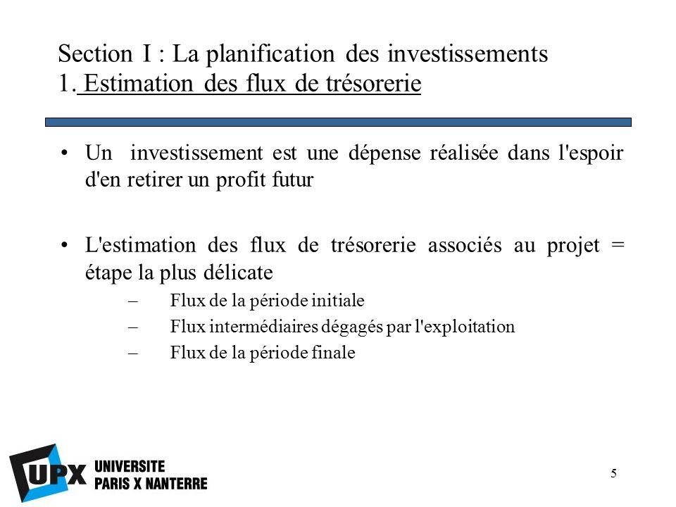 5 Section I : La planification des investissements 1.