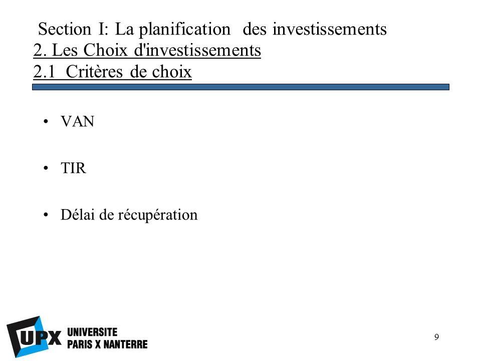 9 Section I: La planification des investissements 2.
