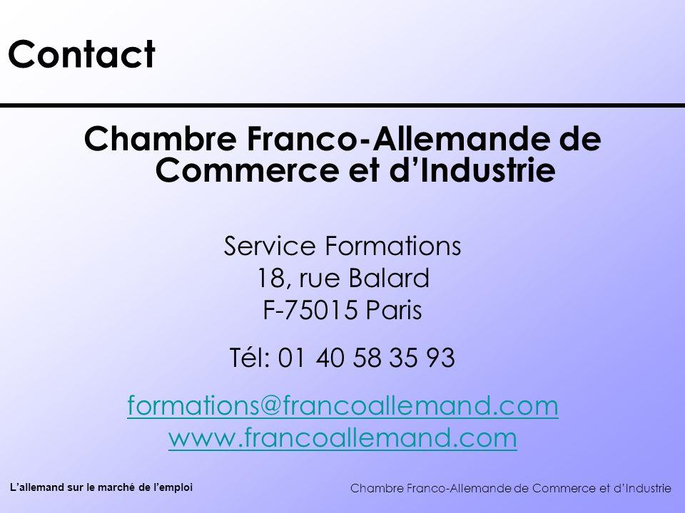 Chambre FrancoAllemande De Commerce Et DIndustrie LAllemand Sur
