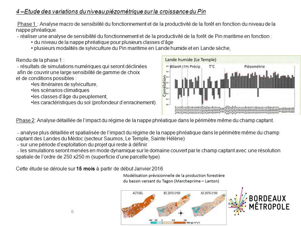 4 –Etude des variations du niveau piézométrique sur la croissance du Pin Phase 1 : Analyse macro de sensibilité du fonctionnement et de la productivité de la forêt en fonction du niveau de la nappe phréatique.