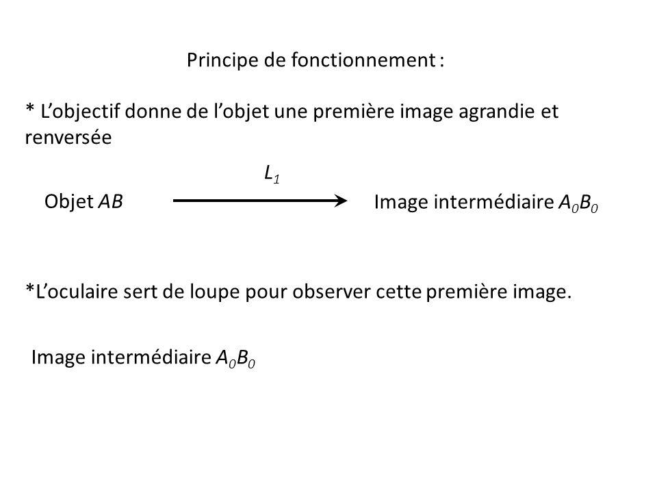 Principe de fonctionnement : * L'objectif donne de l'objet une première image agrandie et renversée *L'oculaire sert de loupe pour observer cette première image.