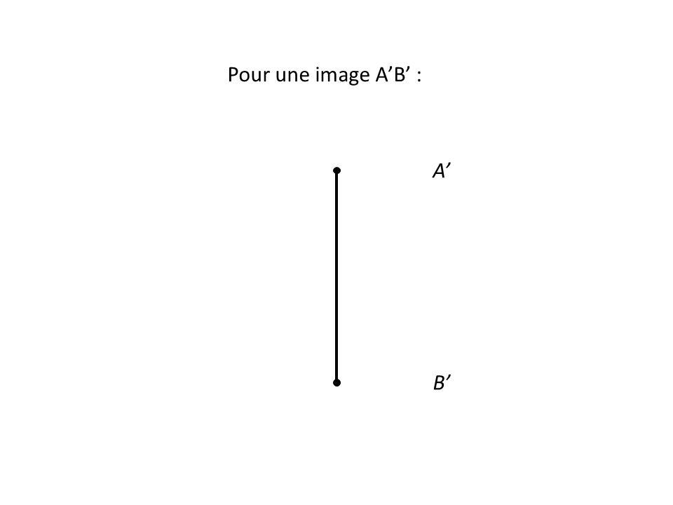 Pour une image A'B' : A' B'