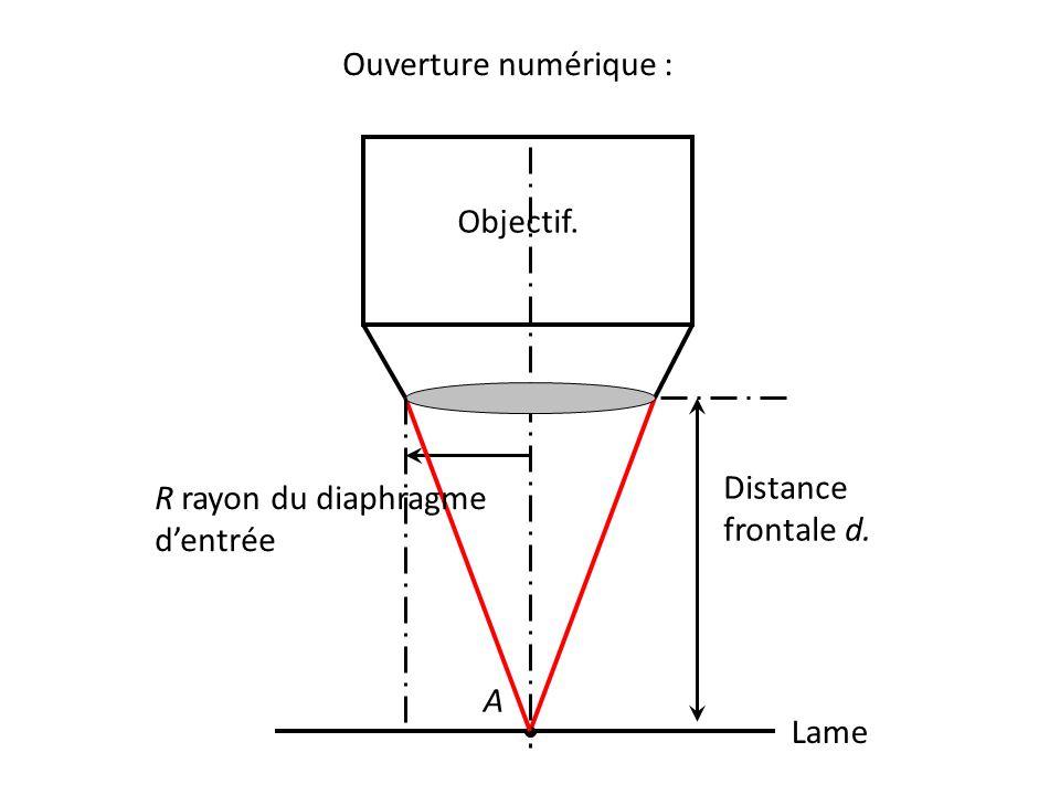 Ouverture numérique : Lame A Objectif. R rayon du diaphragme d'entrée Distance frontale d.