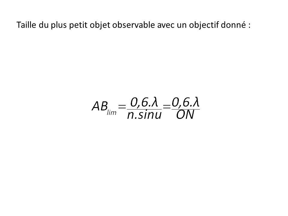 Taille du plus petit objet observable avec un objectif donné :