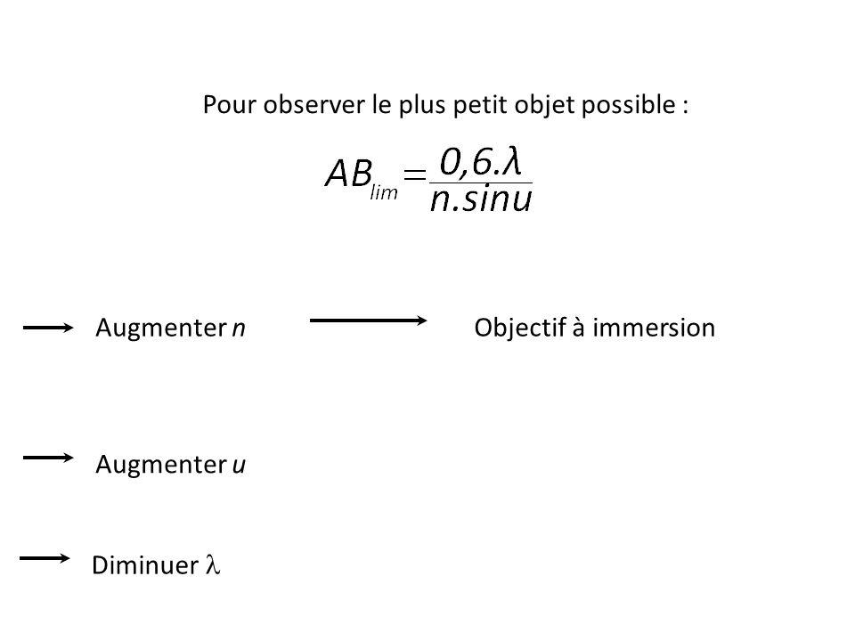 Diminuer Augmenter u Objectif à immersionAugmenter n Pour observer le plus petit objet possible :