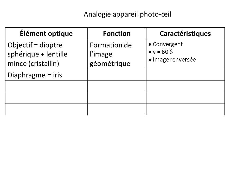 Élément optiqueFonctionCaractéristiques Objectif = dioptre sphérique + lentille mince (cristallin) Formation de l'image géométrique  Convergent  v = 60   Image renversée Diaphragme = iris Analogie appareil photo-œil