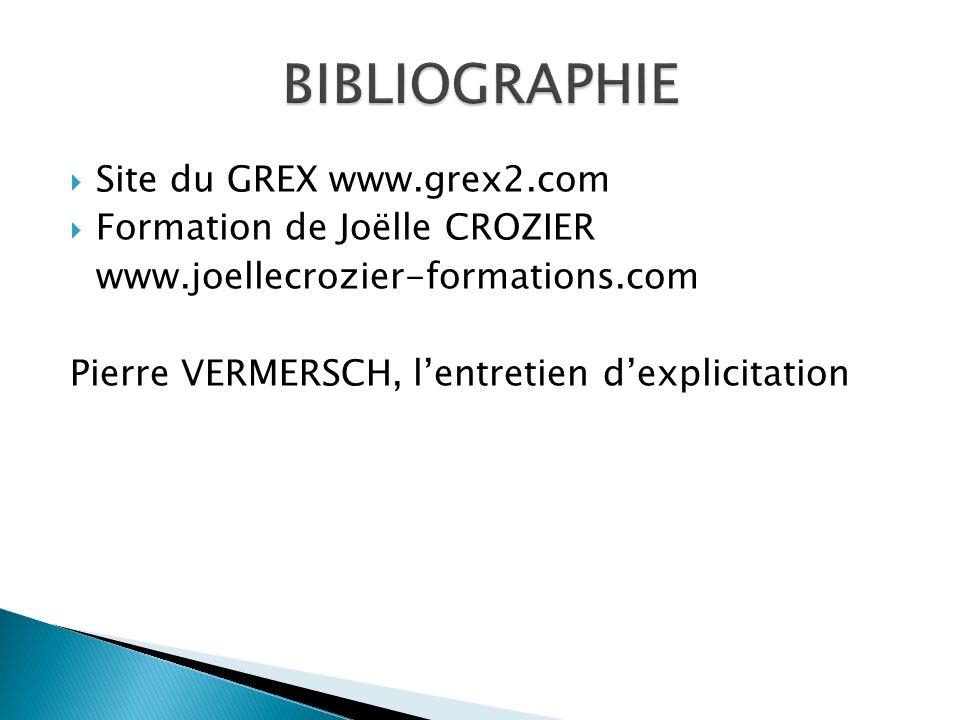 Site du GREX www.grex2.com  Formation de Joëlle CROZIER www.joellecrozier-formations.com Pierre VERMERSCH, l'entretien d'explicitation