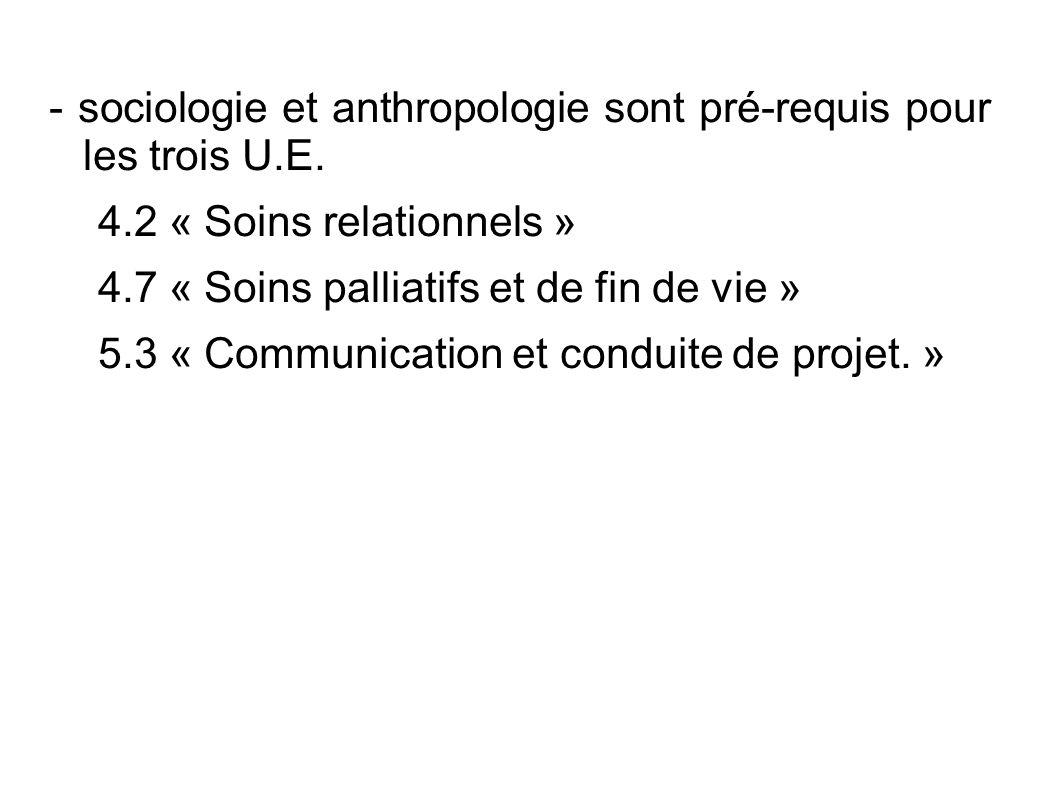 - sociologie et anthropologie sont pré-requis pour les trois U.E.