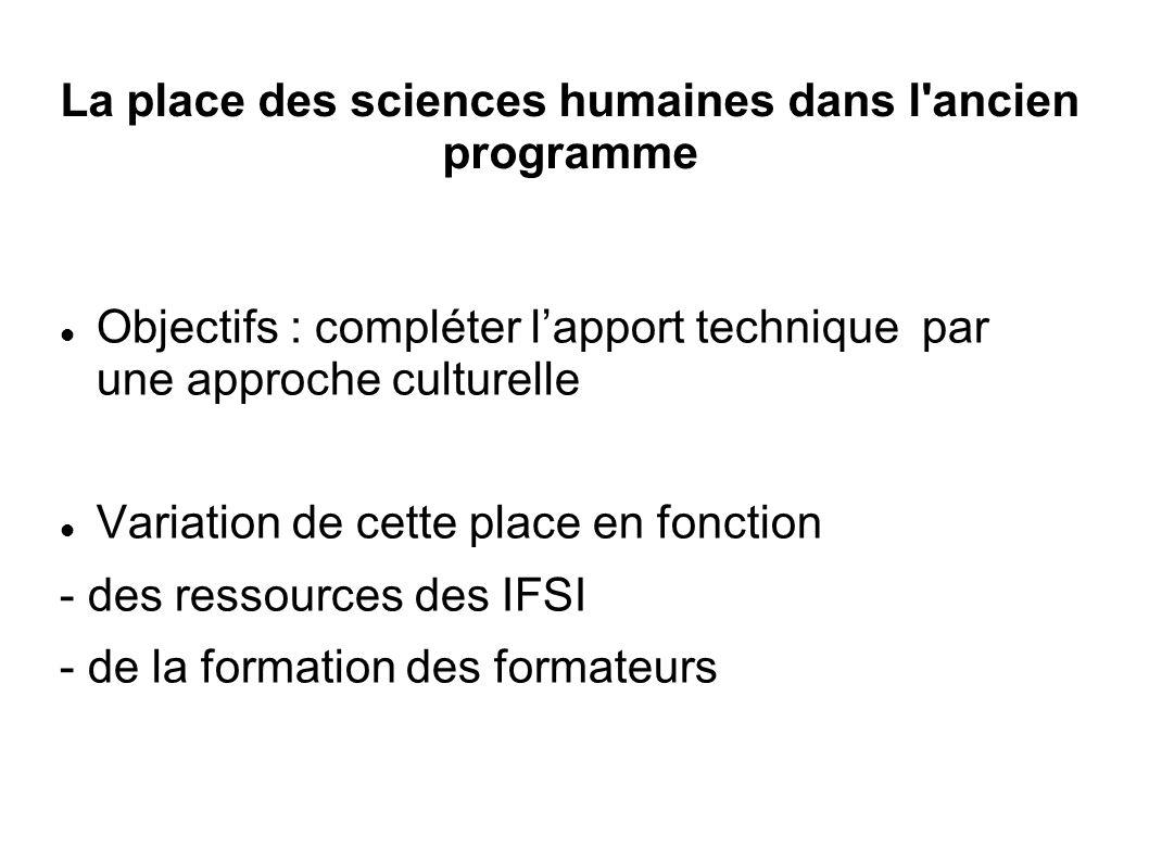 La place des sciences humaines dans l ancien programme Objectifs : compléter l'apport technique par une approche culturelle Variation de cette place en fonction - des ressources des IFSI - de la formation des formateurs