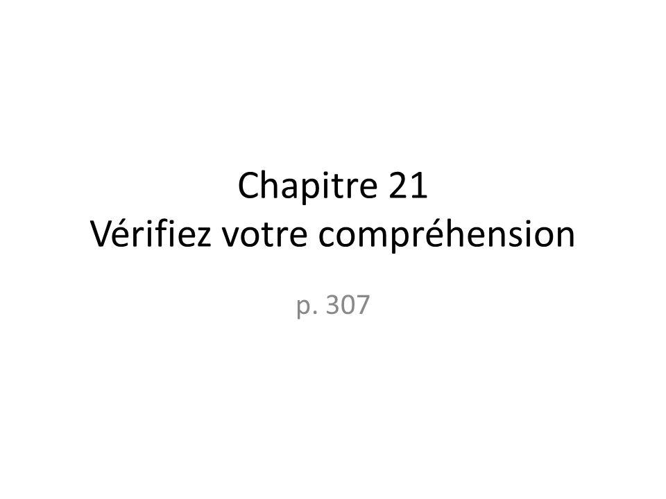Chapitre 21 Vérifiez votre compréhension p. 307