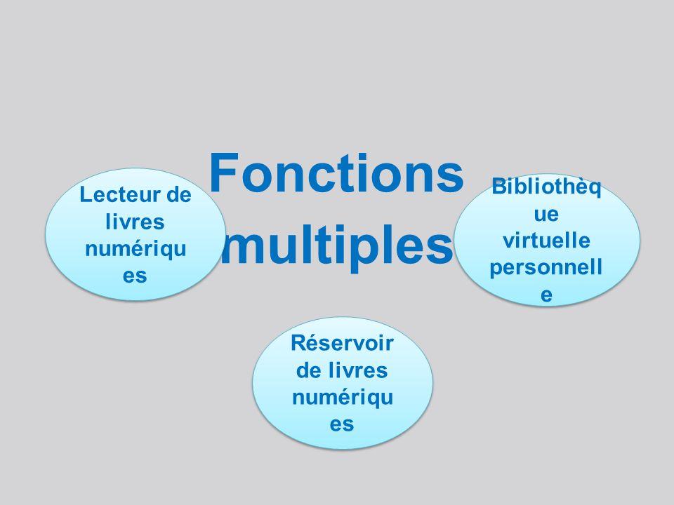 Fonctions multiples Lecteur de livres numériqu es Réservoir de livres numériqu es Bibliothèq ue virtuelle personnell e