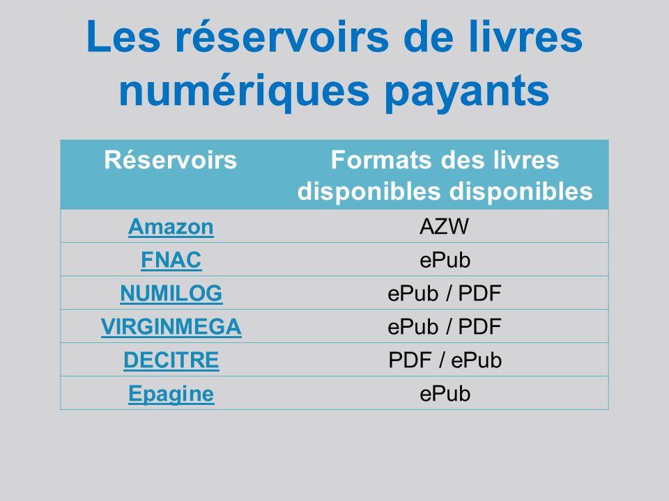Les réservoirs de livres numériques payants RéservoirsFormats des livres disponibles disponibles AmazonAZW FNACePub NUMILOGePub / PDF VIRGINMEGAePub / PDF DECITREPDF / ePub EpagineePub
