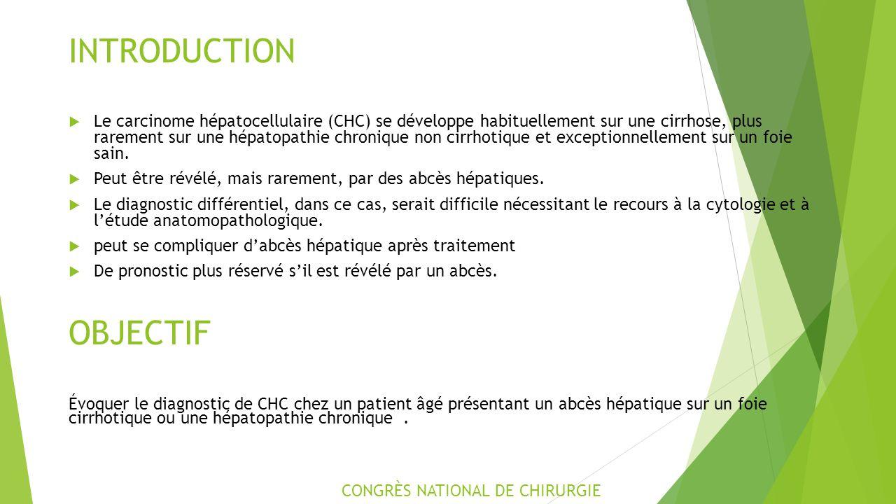 INTRODUCTION  Le carcinome hépatocellulaire (CHC) se développe habituellement sur une cirrhose, plus rarement sur une hépatopathie chronique non cirrhotique et exceptionnellement sur un foie sain.
