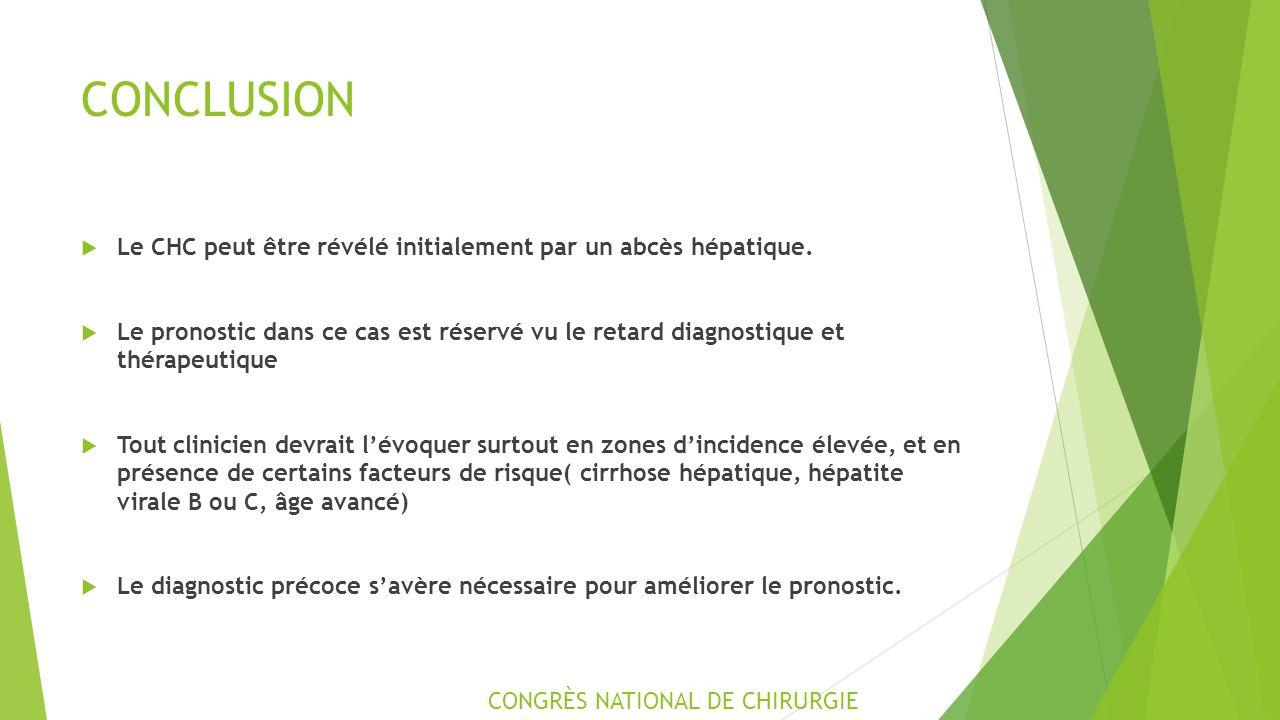 CONCLUSION  Le CHC peut être révélé initialement par un abcès hépatique.