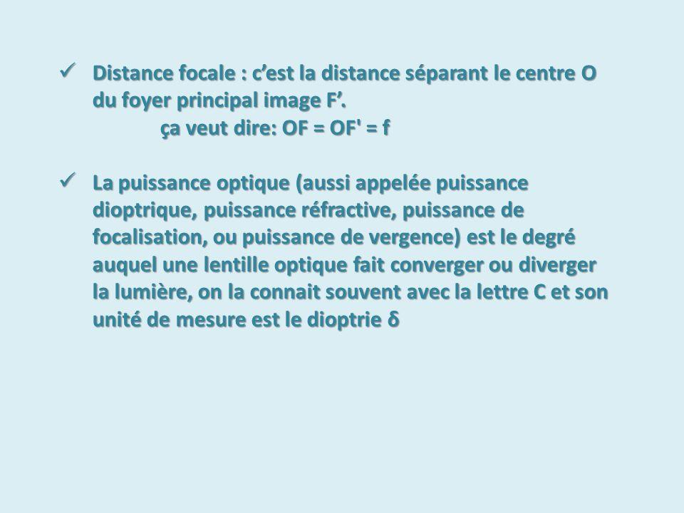 Distance focale : c'est la distance séparant le centre O du foyer principal image F'.