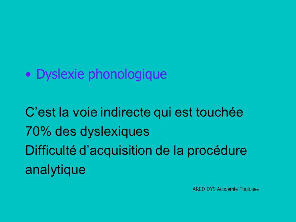 Dyslexie phonologique C'est la voie indirecte qui est touchée 70% des dyslexiques Difficulté d'acquisition de la procédure analytique ARED DYS Académie Toulouse