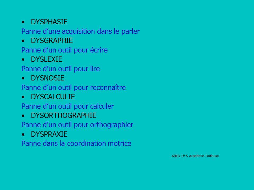 DYSPHASIE Panne d'une acquisition dans le parler DYSGRAPHIE Panne d'un outil pour écrire DYSLEXIE Panne d'un outil pour lire DYSNOSIE Panne d'un outil pour reconnaître DYSCALCULIE Panne d'un outil pour calculer DYSORTHOGRAPHIE Panne d'un outil pour orthographier DYSPRAXIE Panne dans la coordination motrice ARED DYS Académie Toulouse