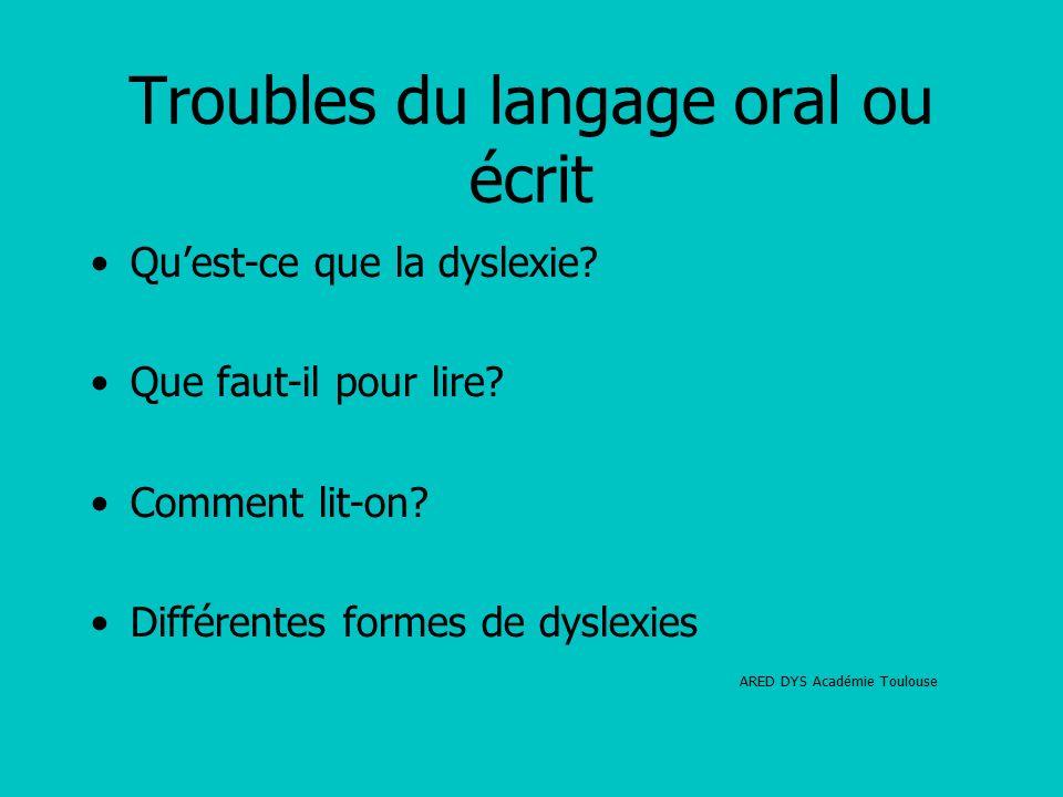 Troubles du langage oral ou écrit Qu'est-ce que la dyslexie.