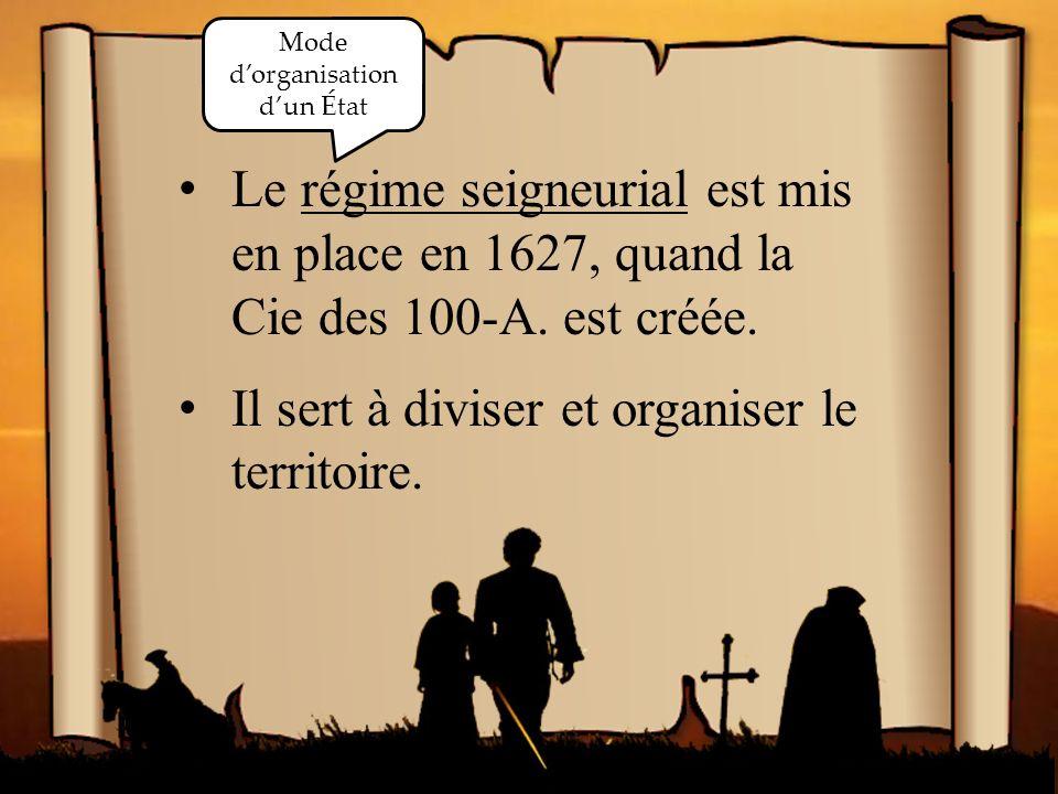 La vie en Nouvelle- France Le régime seigneurial est mis en place en 1627, quand la Cie des 100-A.