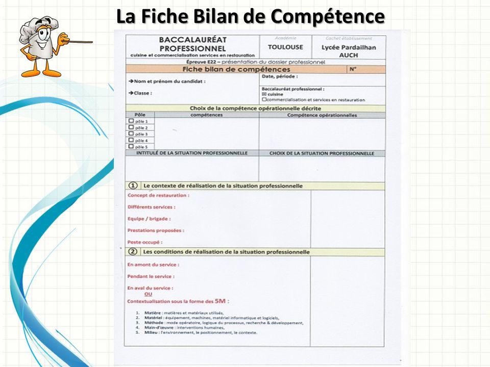 L E D OSSIER P ROFESSIONNEL B ACCALAURÉAT P ROFESSIONNEL C UISINE - Fiche bilan de competences bac pro cuisine