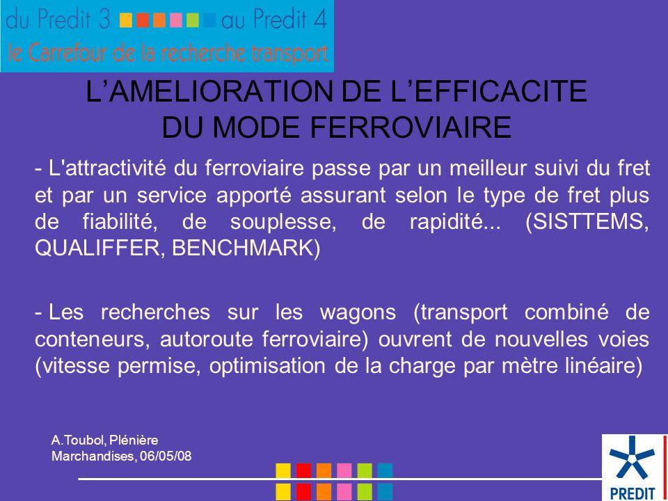 A.Toubol, Plénière Marchandises, 06/05/08 L'AMELIORATION DE L'EFFICACITE DU MODE FERROVIAIRE - L attractivité du ferroviaire passe par un meilleur suivi du fret et par un service apporté assurant selon le type de fret plus de fiabilité, de souplesse, de rapidité...