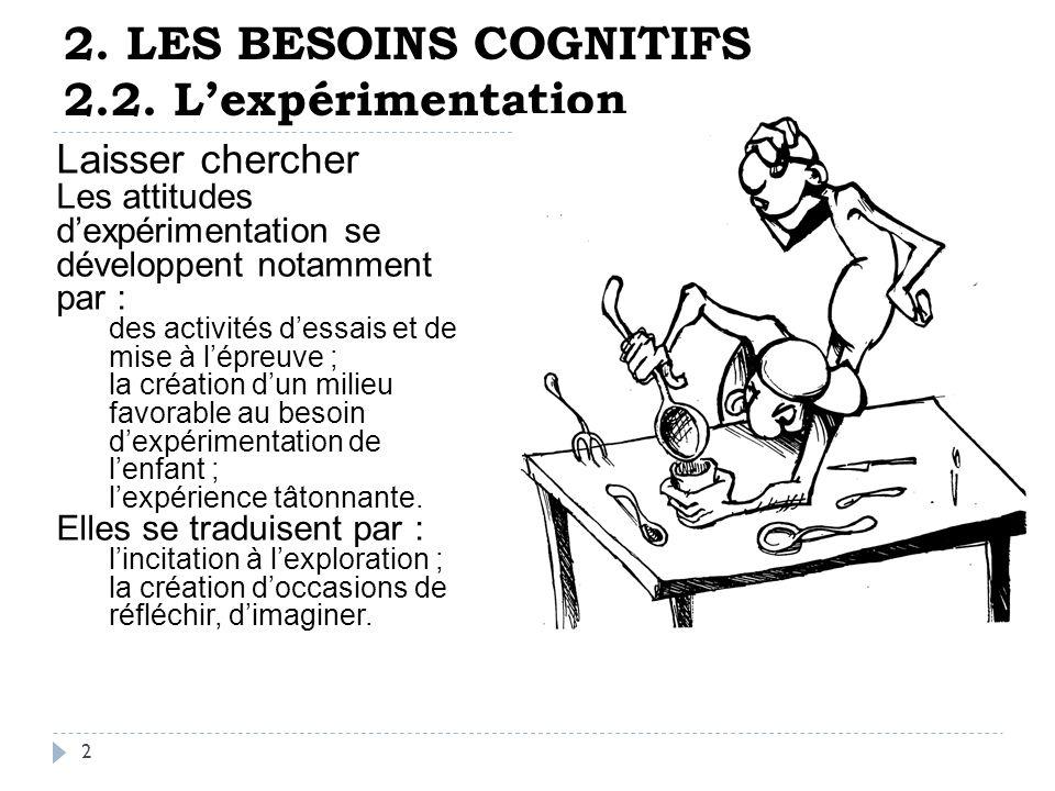 2. LES BESOINS COGNITIFS 2.1. La stimulation 1 Inciter à agir Les ...