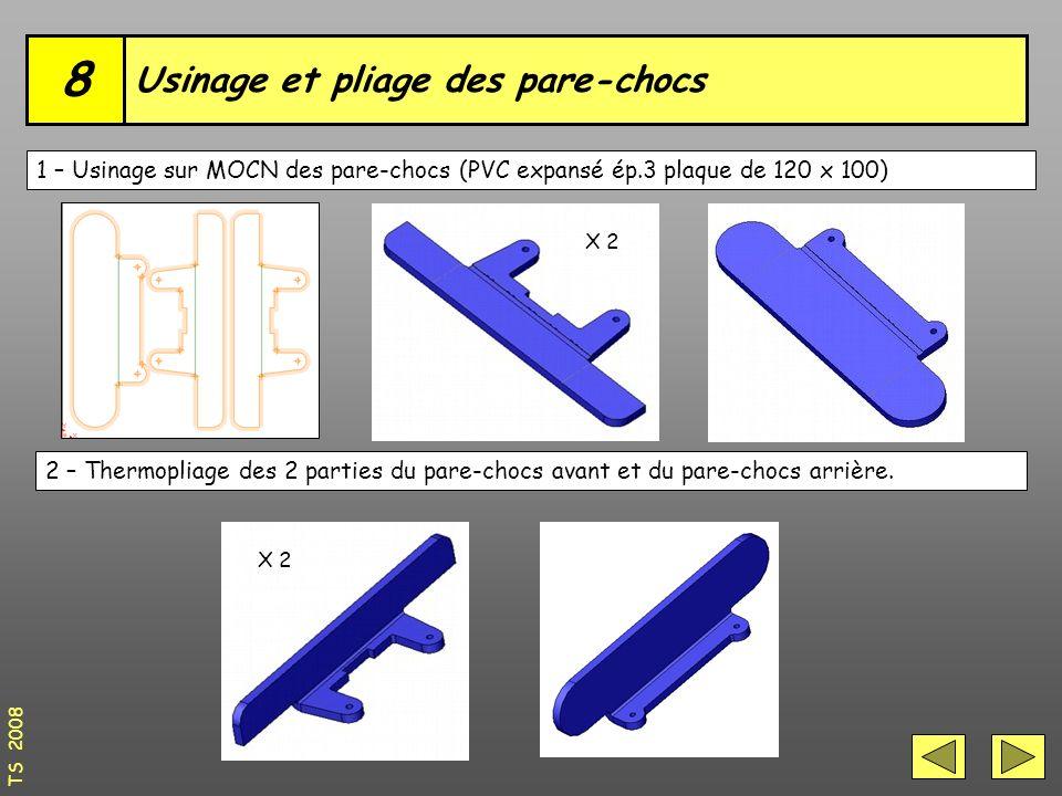 Usinage et pliage des pare-chocs 8 TS 2008 1 – Usinage sur MOCN des pare-chocs (PVC expansé ép.3 plaque de 120 x 100) 2 – Thermopliage des 2 parties du pare-chocs avant et du pare-chocs arrière.