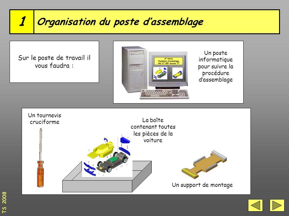 Organisation du poste d'assemblage 1 Sur le poste de travail il vous faudra : Un tournevis cruciforme La boîte contenant toutes les pièces de la voiture Un support de montage Un poste informatique pour suivre la procédure d'assemblage TS 2008