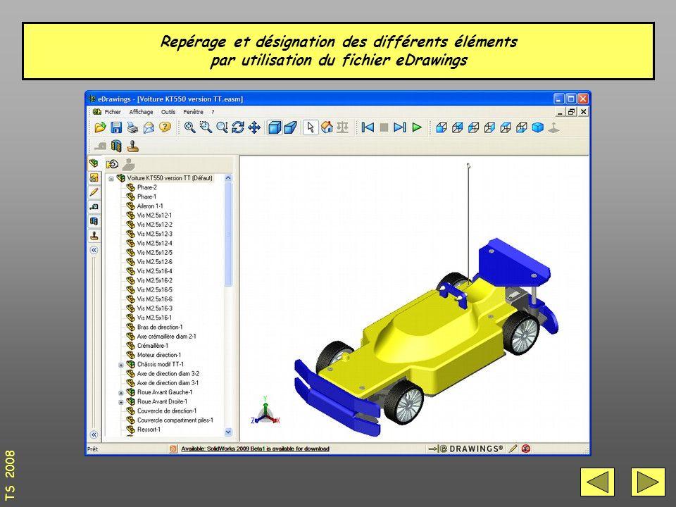 Repérage et désignation des différents éléments par utilisation du fichier eDrawings TS 2008