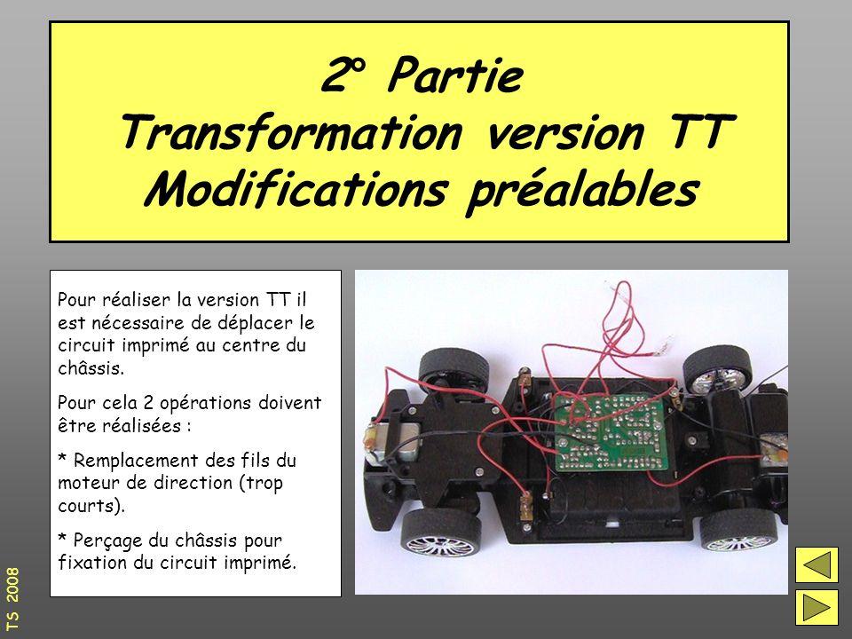 2° Partie Transformation version TT Modifications préalables TS 2008 Pour réaliser la version TT il est nécessaire de déplacer le circuit imprimé au centre du châssis.