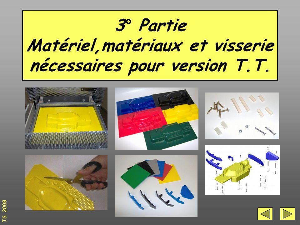 3° Partie Matériel,matériaux et visserie nécessaires pour version T.T. TS 2008