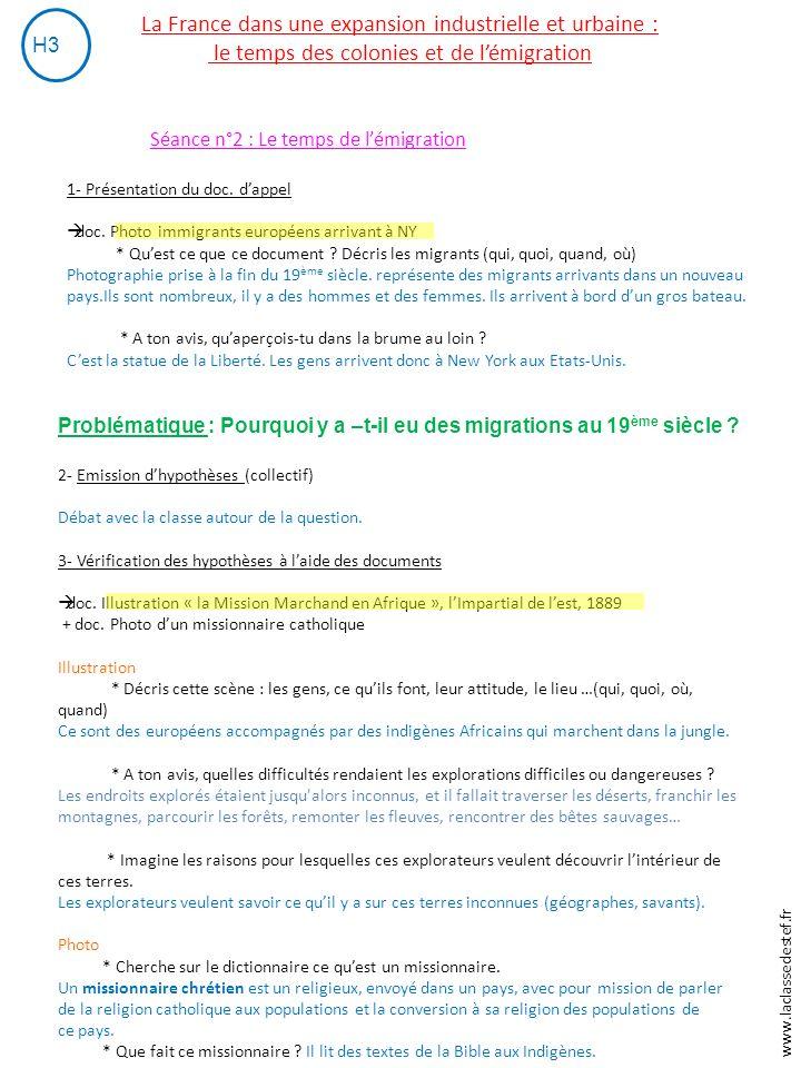 La France dans une expansion industrielle et urbaine : le temps des colonies et de l'émigration H3 Séance n°2 : Le temps de l'émigration 1- Présentation du doc.