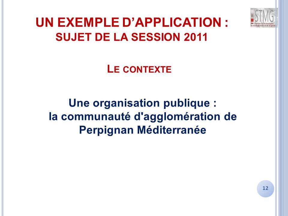 UN EXEMPLE D'APPLICATION : SUJET DE LA SESSION 2011 12 L E CONTEXTE Une organisation publique : la communauté d agglomération de Perpignan Méditerranée