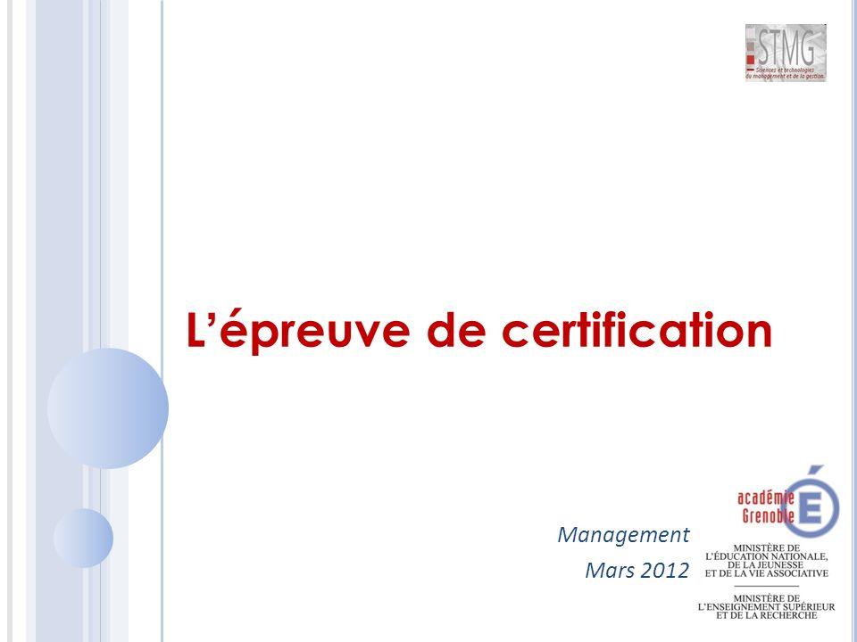 L'épreuve de certification Management Mars 2012