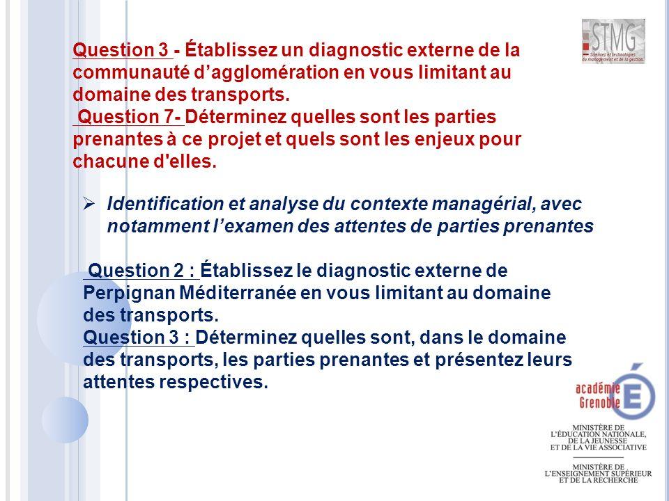  Identification et analyse du contexte managérial, avec notamment l'examen des attentes de parties prenantes Question 3 - Établissez un diagnostic externe de la communauté d'agglomération en vous limitant au domaine des transports.