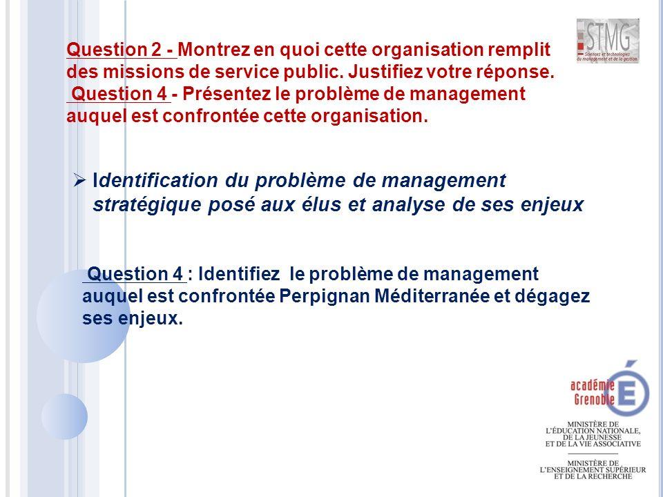  Identification du problème de management stratégique posé aux élus et analyse de ses enjeux Question 2 - Montrez en quoi cette organisation remplit des missions de service public.