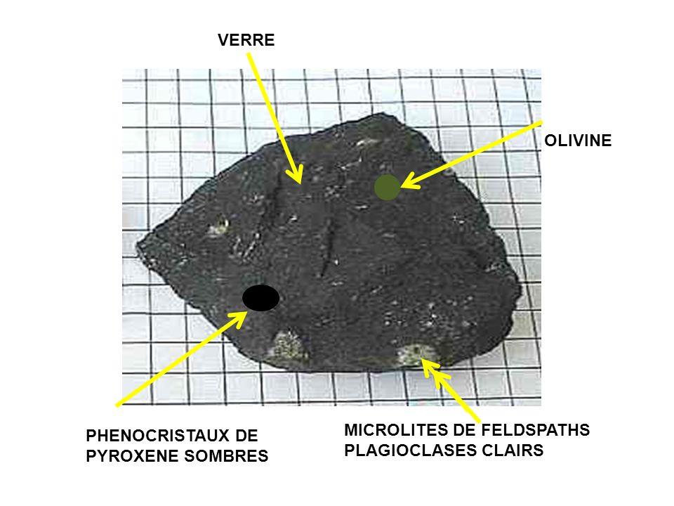 MICROLITES DE FELDSPATHS PLAGIOCLASES CLAIRS VERRE PHENOCRISTAUX DE PYROXENE SOMBRES OLIVINE