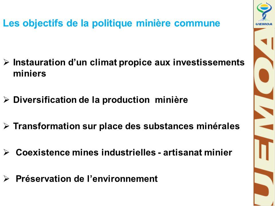 Les objectifs de la politique minière commune  Instauration d'un climat propice aux investissements miniers  Diversification de la production minière  Transformation sur place des substances minérales  Coexistence mines industrielles - artisanat minier  Préservation de l'environnement