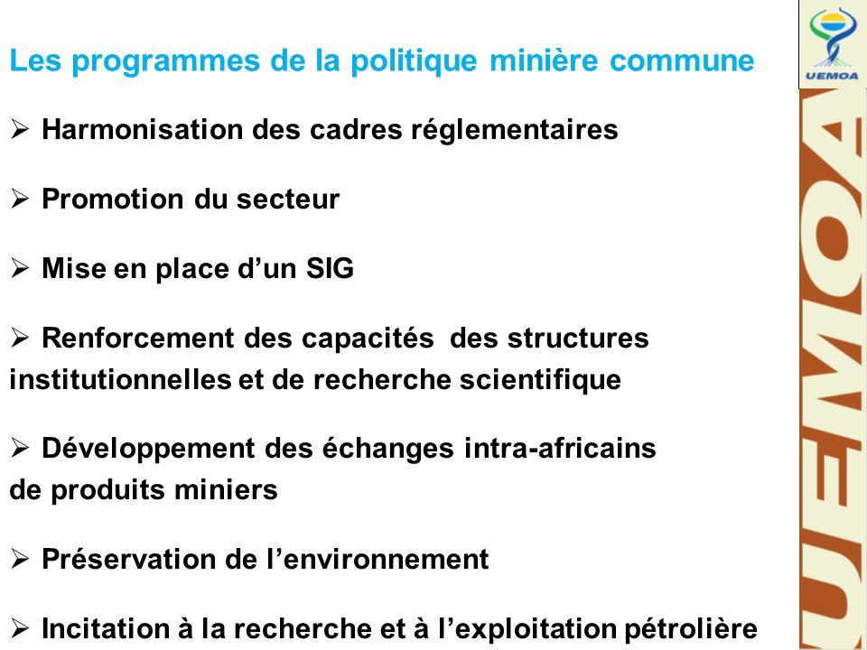 Les programmes de la politique minière commune  Harmonisation des cadres réglementaires  Promotion du secteur  Mise en place d'un SIG  Renforcement des capacités des structures institutionnelles et de recherche scientifique  Développement des échanges intra-africains de produits miniers  Préservation de l'environnement  Incitation à la recherche et à l'exploitation pétrolière