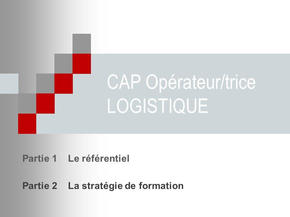 CAP Opérateur/trice LOGISTIQUE Partie 1 Le référentiel Partie 2 La stratégie de formation