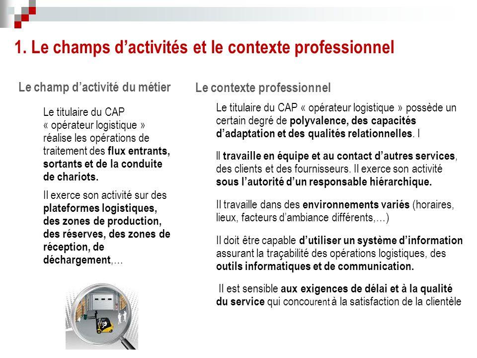 Le contexte professionnel Le titulaire du CAP « opérateur logistique » possède un certain degré de polyvalence, des capacités d'adaptation et des qualités relationnelles.