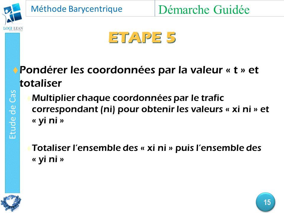 ETAPE 5  Pondérer les coordonnées par la valeur « t » et totaliser  Multiplier chaque coordonnées par le trafic correspondant (ni) pour obtenir les valeurs « xi ni » et « yi ni »  Totaliser l'ensemble des « xi ni » puis l'ensemble des « yi ni » Démarche Guidée 15