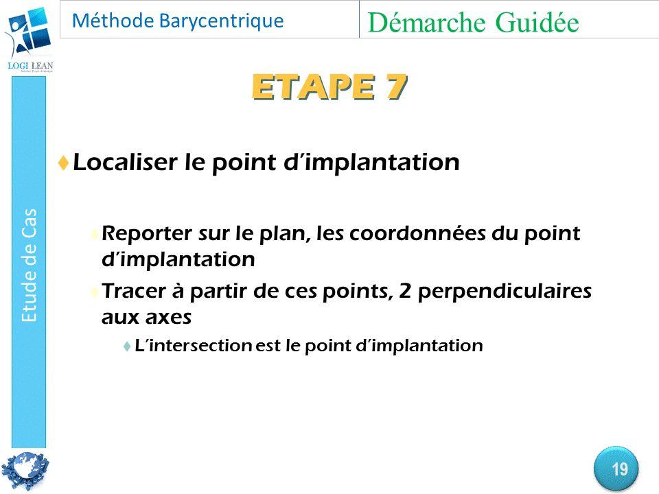 ETAPE 7  Localiser le point d'implantation  Reporter sur le plan, les coordonnées du point d'implantation  Tracer à partir de ces points, 2 perpendiculaires aux axes  L'intersection est le point d'implantation Démarche Guidée 19