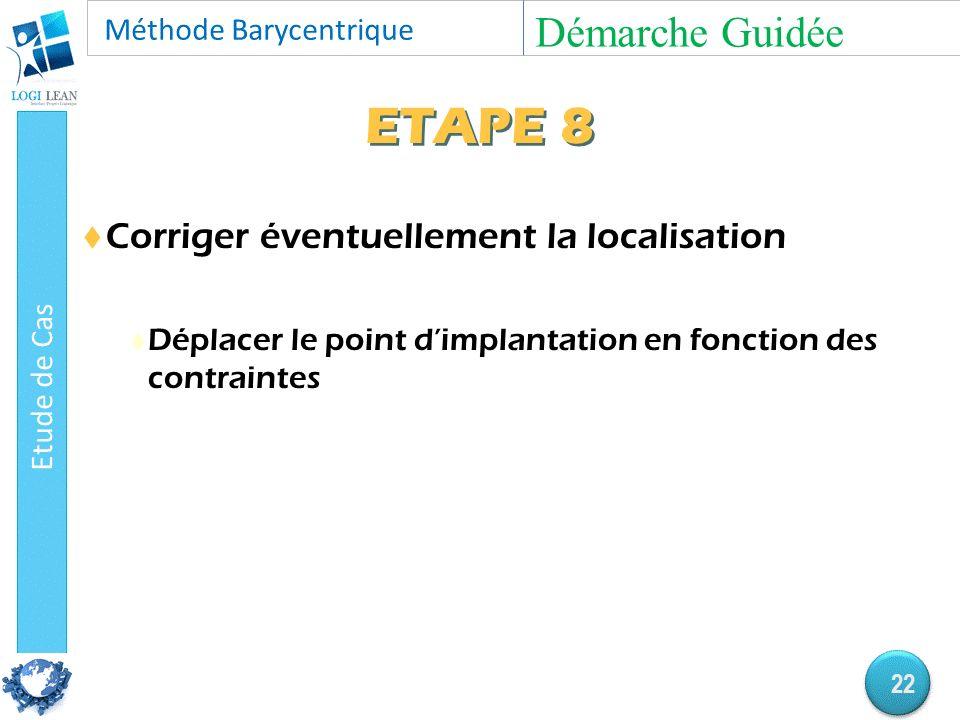 ETAPE 8  Corriger éventuellement la localisation  Déplacer le point d'implantation en fonction des contraintes Démarche Guidée 22