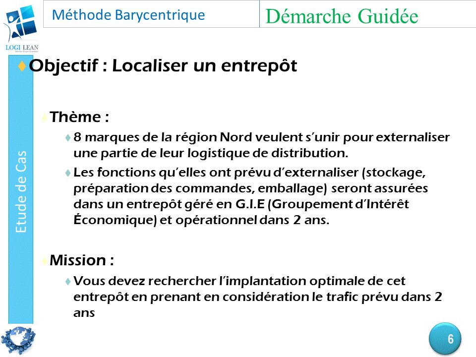  Objectif : Localiser un entrepôt  Thème :  8 marques de la région Nord veulent s'unir pour externaliser une partie de leur logistique de distribution.