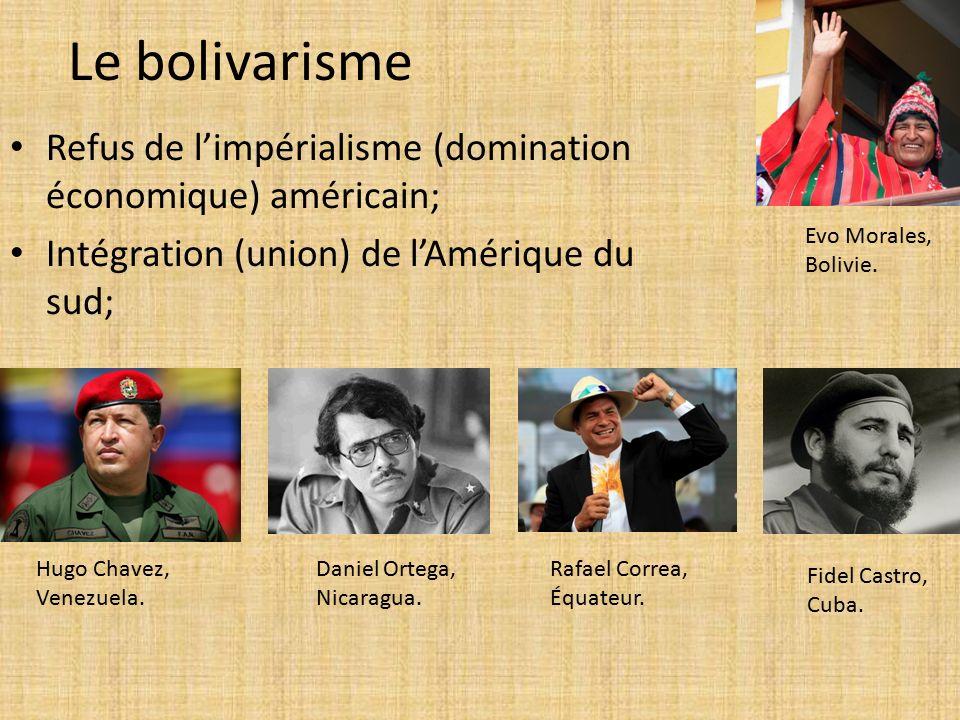 Le bolivarisme Refus de l'impérialisme (domination économique) américain; Intégration (union) de l'Amérique du sud; Hugo Chavez, Venezuela.