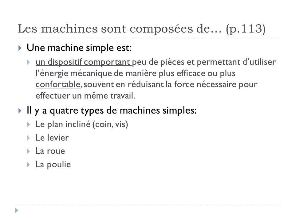 Avantage mécanique et le travail  Amplification d'une force à l'aide d'une machine simple  Le travail est une force fournie sur une distance  W = F x d  Le travail ne change pas, mais on peut diminuer la force requise en échange d'augmenter la distance